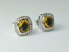 David YurmanAlbion 7x7mm Citrine Diamonds Earrings