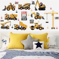 Cartoon Car Wall Stickers Digger Truck Transport Boy Kids Bedroom Nursery Decor