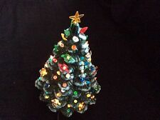 Vintage Gorgeous ceramic Christmas Tree w/lights, flocked branches 14""