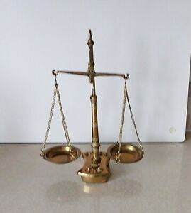 Vintage Antique  Small Brass Beam Balance Scales - Seven Weights
