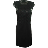 NWT French Connection Black Floral Mesh Sleeveless Dress Women's Size 12