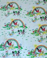 VTG 70s 80s Disney Curtain Sheet Fabric Mickey Pluto Donald Duck Rainbow 2
