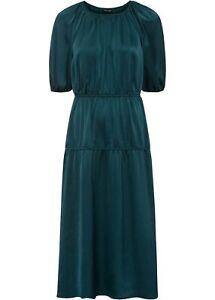Midikleid Gr. 48 dunkelgrün Satinkleid Puffärmel Satin Kleid wadenlang neu