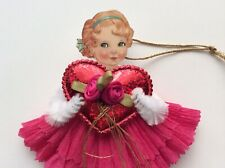 Paper doll vintage Valentine's Day ornaments, Chenille feather tree item# 10