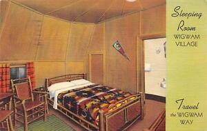WIGWAM VILLAGE Sleeping Room Roadside Kentucky Vintage Postcard Horse Cave 1947