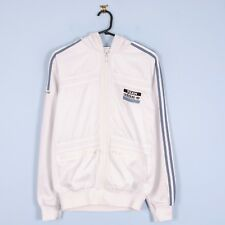 Mens Adidas Originals Jacket in White Hooded Track Top Small S Vintage Retro