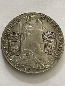 Genuine Maria Theresa Thaler Austria 1780, Double Counter Stamped! Rare Coin