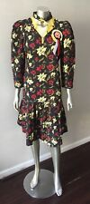 Oriental Asian Vintage 80s Crepe Black Yellow Midi Pleated Party Dress  M 8