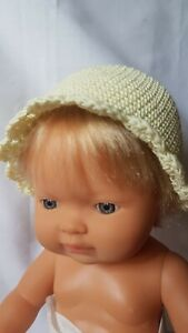 Handmade dolls clothes (Crocheted hat ) fit 38cm Miniland doll