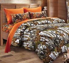 7pc Queen White CAMO COMFORTER / Orange SHEET SET : BED IN A BAG WOODS HUNT