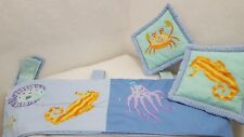 "2 Kidsline Ocean Sea Life Nursery Window Valances 11"" x 58"" 2 Pillows 9"" x 9""euc"