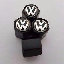 VW Volkswagen Noir Alliage Valve Dust Caps tous les modèles T5 T4 Golf GTi Jetta Polo