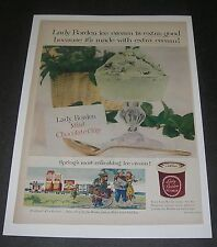 Print Ad 1955 FOOD Ice Cream Lady BORDEN Mint Chocolate Chip Elsie the Cow