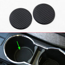 2Pcs Black Car Vehicle Water Cup Slot Non-Slip Carbon Fiber Style Mat Pad 63mm