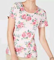 Karen Scott Womens Plus Size 0X 1X 2X 3X Blouse Printed Scoop Neck Floral Plaid