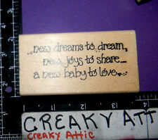 NEW DREAMS JOYS TO SHARE BABY TO LOVE RUBBER STAMP IMAGINATIONS Q732