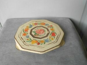 Vintage French tole Yellow FLORAL TRIVET