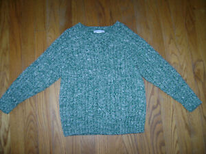 JANIE and JACK KNIT SWEATER TOP size 5 GREEN WHITE BOYS 100% COTTON STUNNING