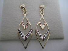 9ct 3 colour oro taglio diamante pendente orecchini NUOVA IN SU PROMOZIONE