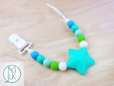 Turquoise Star Soother Dummy Clip Holder Teething Silicone Beads Safe BPA Free