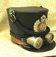 Black Steampunk General Leatheret Hat With Brass Lion Details In 57,58,59,60cm