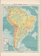 1923 MAP ~ SOUTH AMERICA PHYSICAL ~ HEIGHTS & DEOPTHS ANDES AMAZON