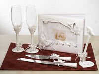 Spring Butterfly Guest Book Toasting Flutes Cake Server Wedding Accessory Set