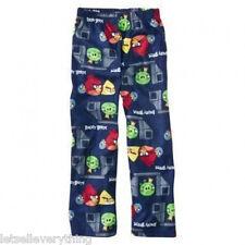 NEW Boy ANGRY BIRDS GAME Fleece Pajama Lounge Pants S 4-5 Blue
