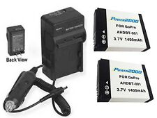 2 Batteries + Charger for GoPro HD HERO 2 MOTORSPORTS SURF HELMET NAKED EDITION
