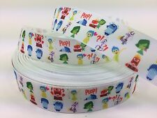 "BY The Yard 1"" Disney INSIDE OUT Grosgrain Ribbon Hair Bows Lanyards Lisa"