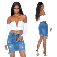 Womens Skirt Denim High Waist Mini Slim Stretch Ripped Casual Summer Party Dress