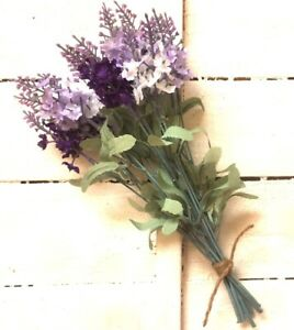 Artificial Lavender Bunch 6 Stems White Pale and Deep Lilac 26cm