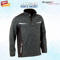 JCB Mens Fleece Soft Shell Jacket Marl Knit Pullover Warm 1/4 Zip Jumper Grey