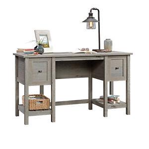 Cottage Road Pedestal Desk with 2 Drawers, Mystic Oak Finish
