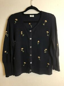 RRP$349 Paul Smith Size 12 Navy Cotton Knit Cardigan Floral