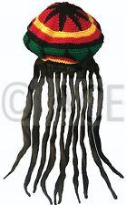 Bob Marley Jamaican Reggae Headgear Baggy Cap Rasta Beanie Hat Wig Dreadlocks