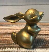 "Vintage Brass Cartoon Bunny Rabbit Figurine Statue Decoration 3.75"" Tall"