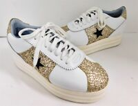 Chiara Ferragni White Leather Star Gold Glitter Platform Sneakers 39