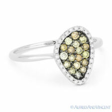 0.37 ct Round Cut Fancy Diamond Pave Right Hand Ring in 14k White and Black Gold