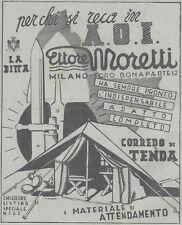 Y3585 Tende da Campo Ettore Moretti - Pubblicità d'epoca - 1937 old advertising
