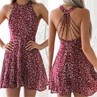 Womens Halter Floral Mini Dress Backless Casual Party Summer Swing Short Dresses