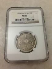 (JC) 50 (fifty) sen 1995 Malaysia Bunga Raya coin keydate NGC Graded MS63 (UNC)