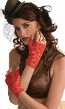Steampunk Fingerless Lace Gloves- Red