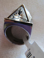 NEW ST JOHN KNIT SIZE 7  WOMENS DESIGNER JEWELRY SILVER CRYSTAL  RING