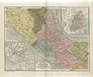 1878 ANCIENT CENTRAL ITALY LATIUM ETRURIA ROME in REPUBLIC TIME  Map H.Kiepert