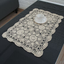 Ecru Vintage Hand Crochet Lace Doily Cotton Table Placemat 16X24inch Pattern