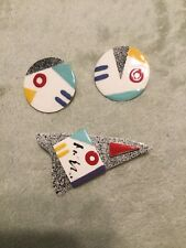 Hand Made Pin and Earring Set Made from Ceramic