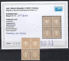 Bayern 6 Kr. Wappen 1870** Viererblock Michel 24 Y Befund (S11259)