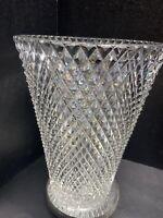 Early 20th Century Diamond Cut Crystal Vase Heavy Sharp Cuts Starburst Bottom