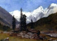 Albert Bierstadt Rocky Mountain Landscape Fine Art Print on Canvas Small 8x10